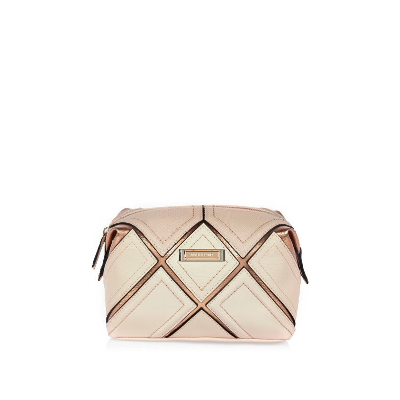 ae33fdb589b8f7 River Island Pink Gold Grid Make Up Bag In Lyst