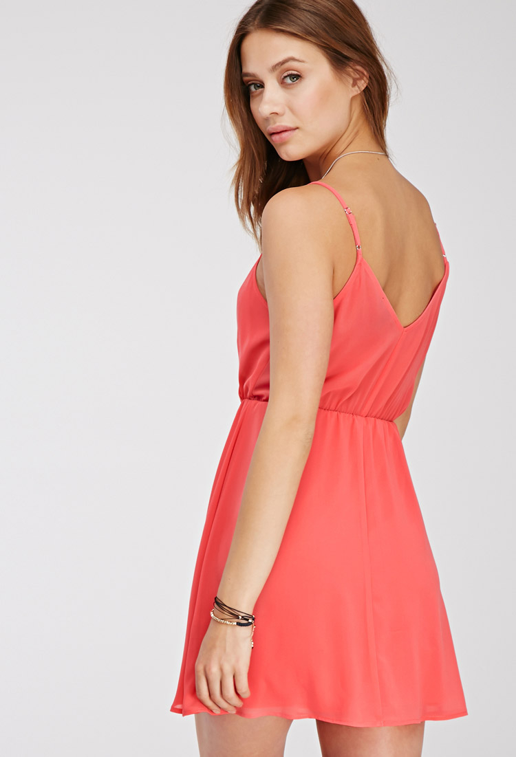 Forever 21 Chiffon Surplice Cami Dress In Pink Lyst