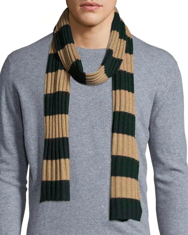 Portolano Striped Ribbed Knit Scarf In Green
