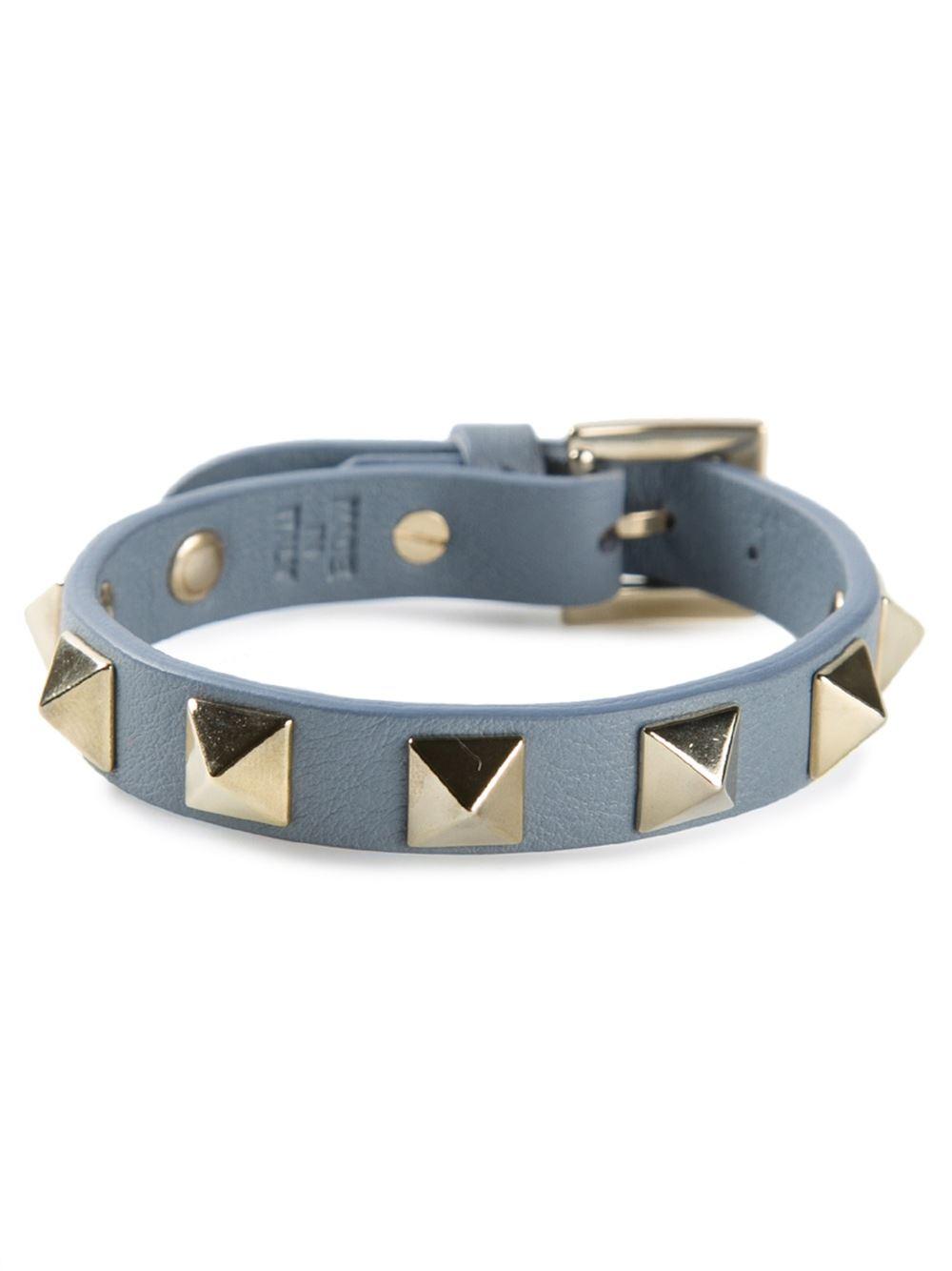 Valentino Small Rockstud Bracelet In Blue Lyst