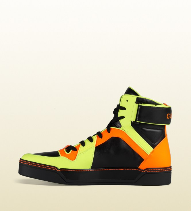 gucci shoes for men high tops 2015. gucci new men s clic neon high top leather sneakers 6 5g 7 5us shoes for tops 2015