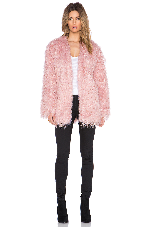 somedays lovin sacred faux fur coat in pink lyst