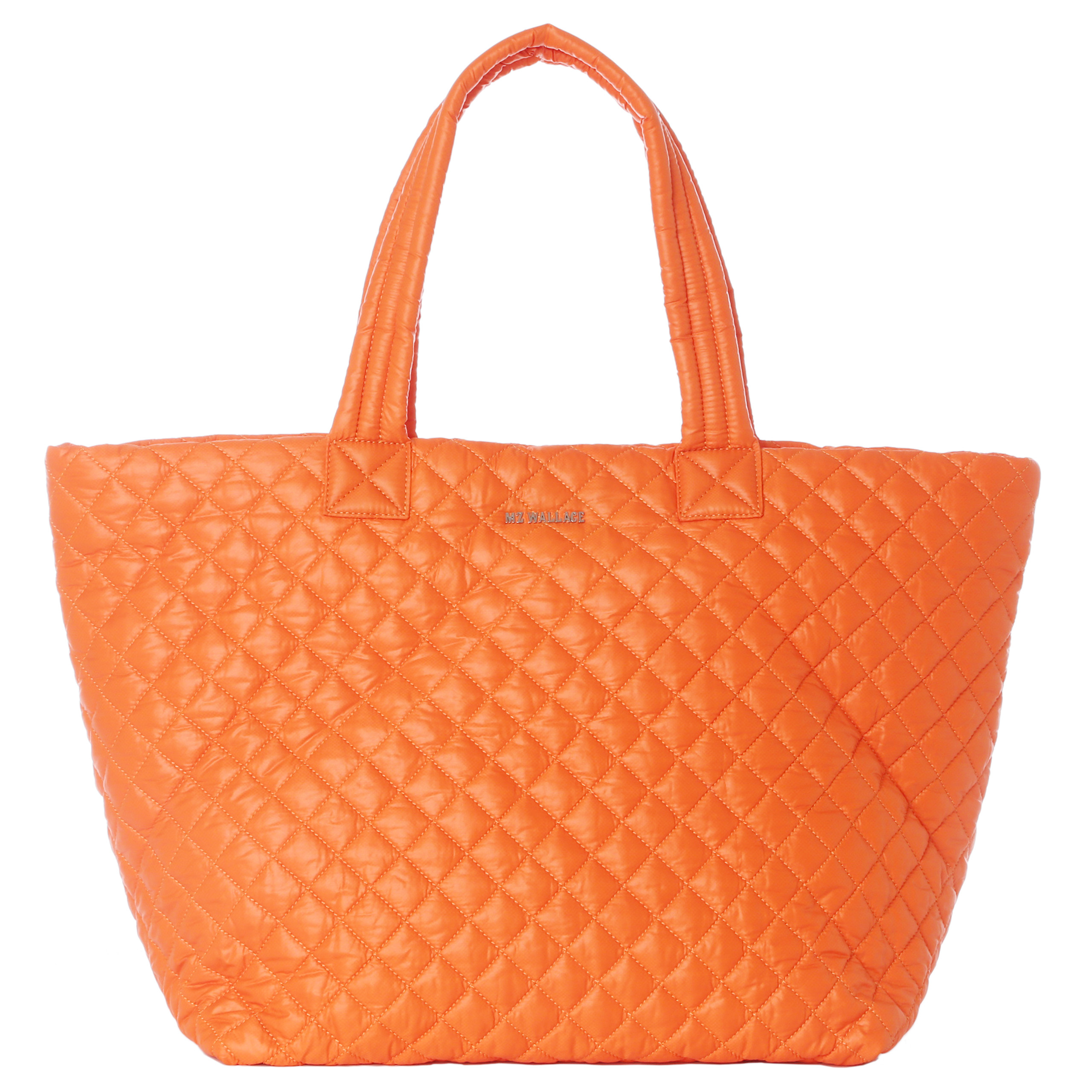 Mz Wallace Tangerine Quilted Oxford Nylon Large Metro Tote