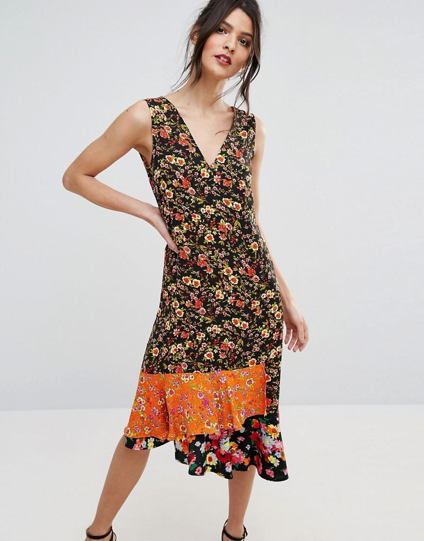 Warehouse Ditsy Floral Dress Red