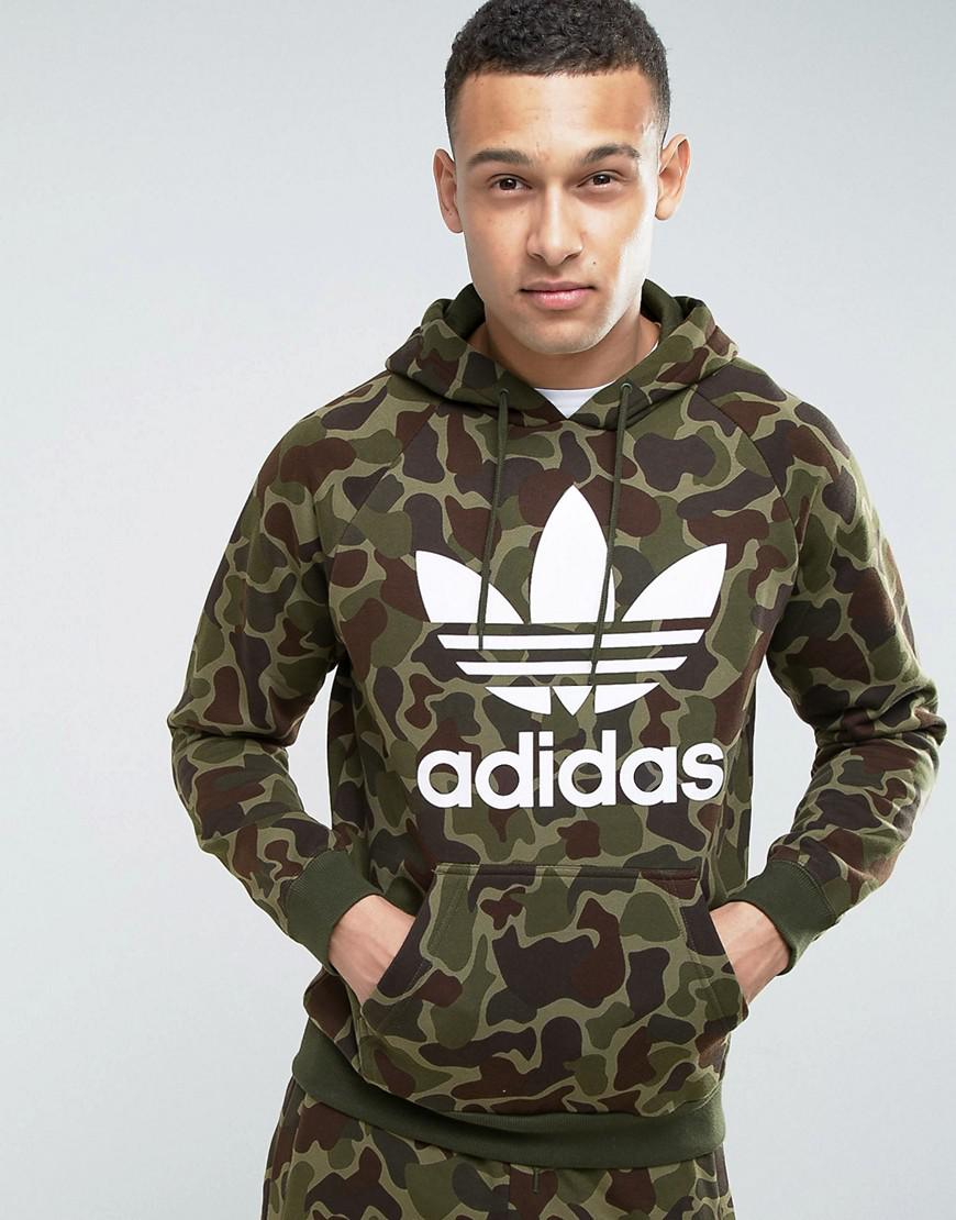 Adidas Originals Pullover Hoodie In Camo Bk5884 In Green