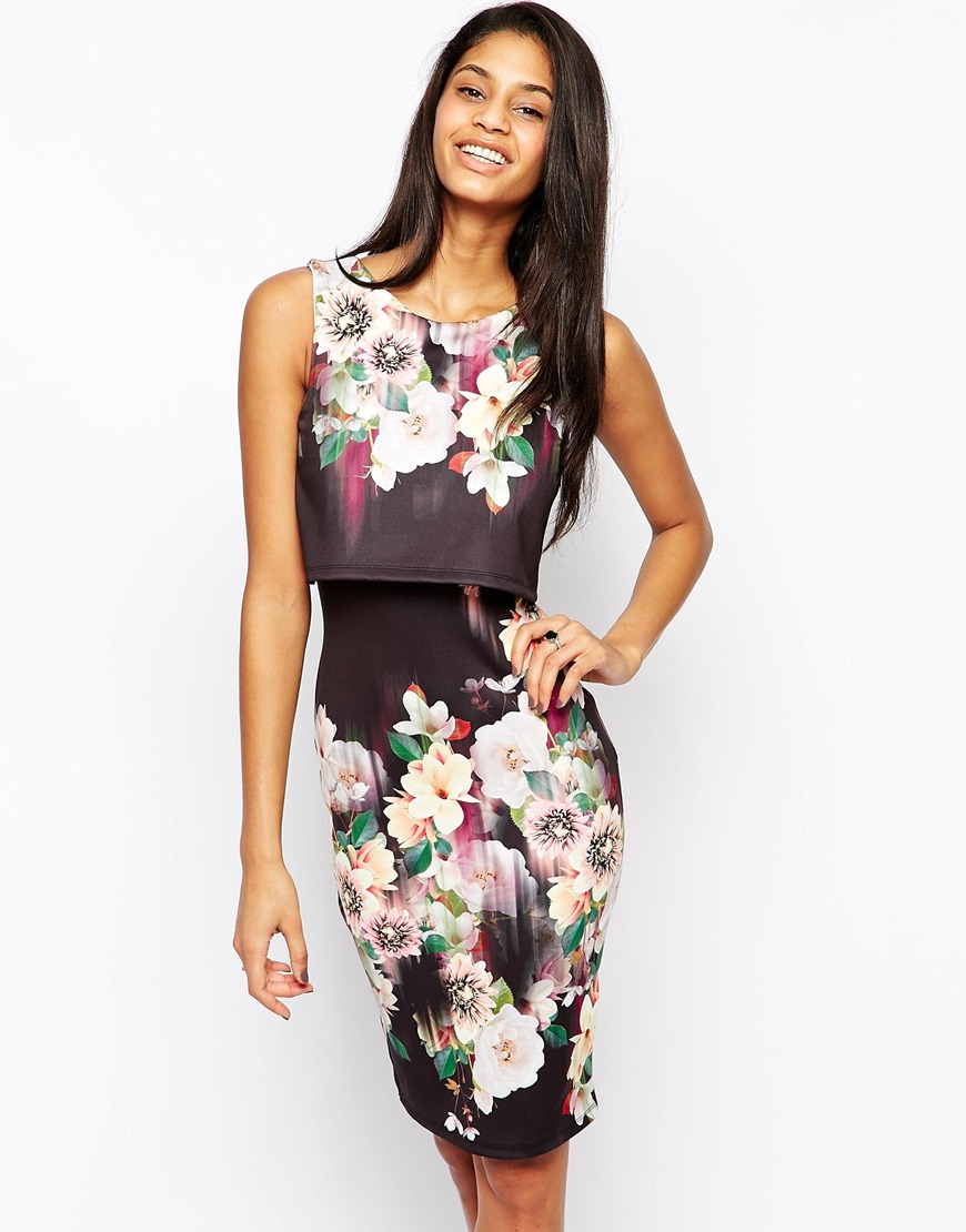 Lipsy 2 In 1 Floral Printed Bodycon Dress In Black Lyst