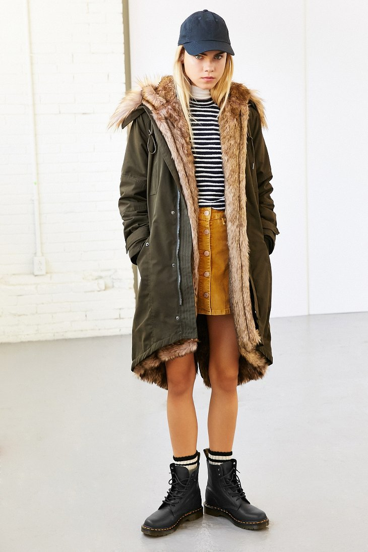 Members Only Faux Fur Lined Hooded Parka In Green Lyst