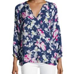 da687bcf361a34 Lyst Joie Mckenna Floral Print Silk Top In Blue