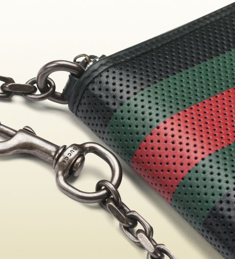 Gucci Perforated Leather Web Chain Wallet In Multicolor