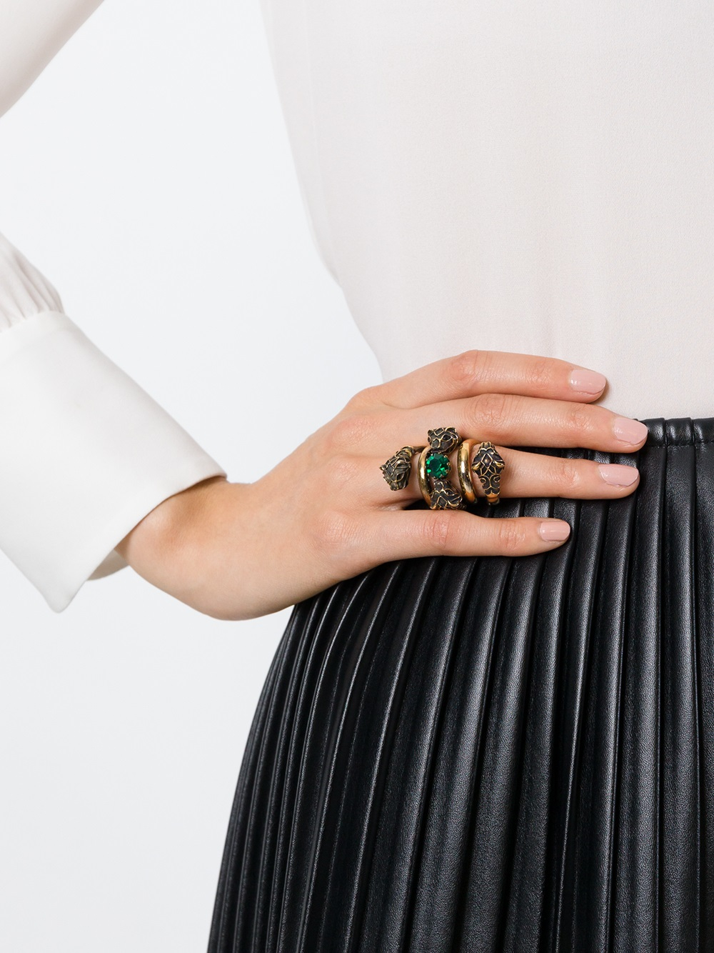 Gucci Snake Head Ring In Green Lyst