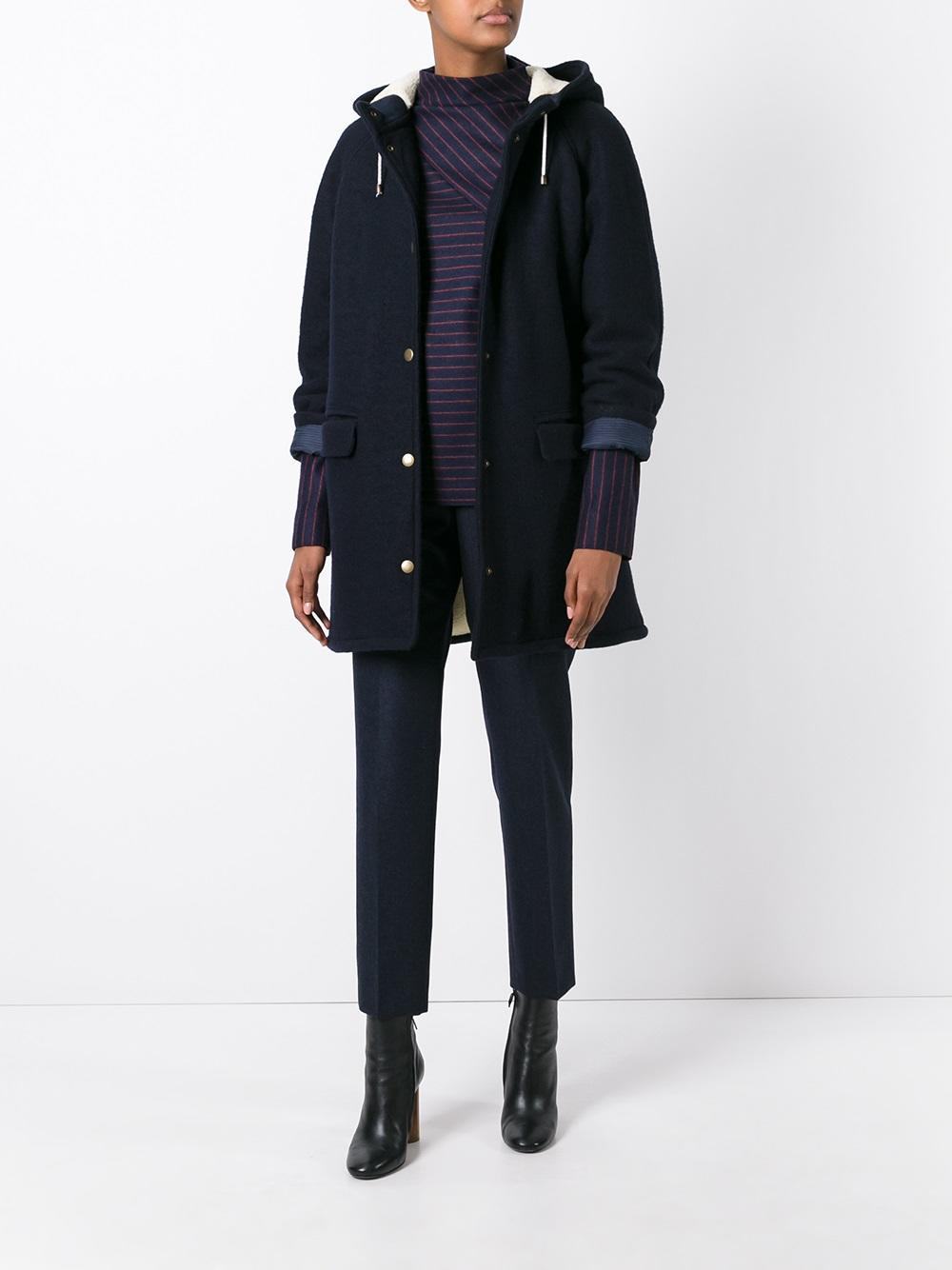 Apc Hooded Coat In Blue Lyst