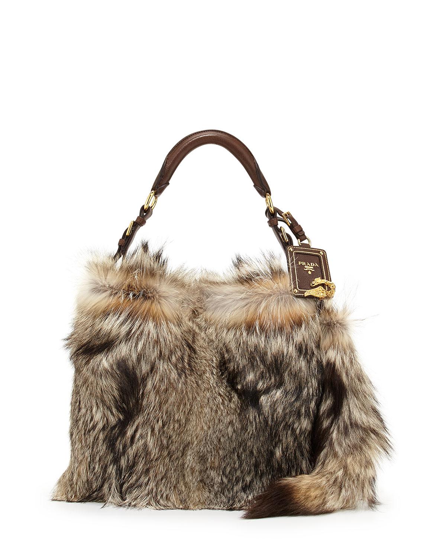 Prada Fox Fur Hobo Bag In Brown Lyst