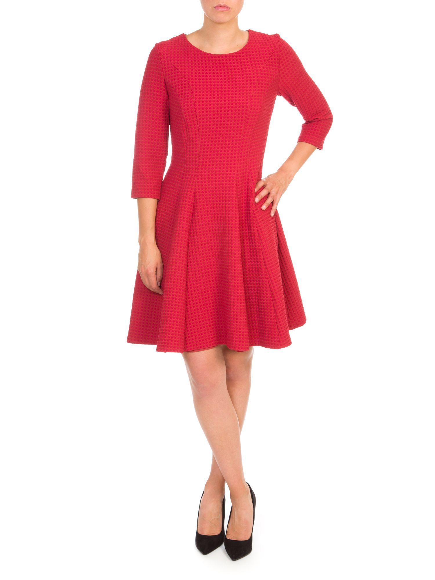 Lyst Lavand Textured Skater Dress In Red