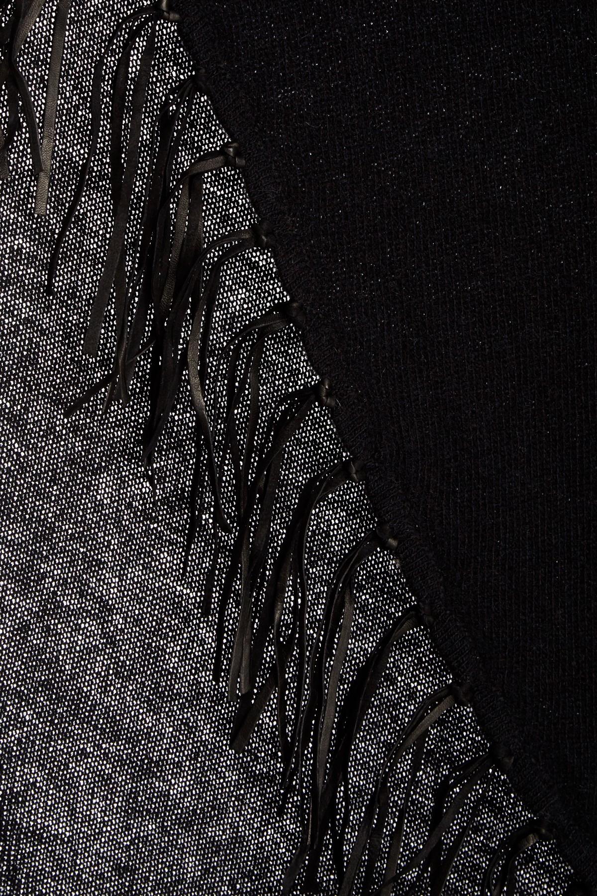 Portolano Genuine Leather Fringe Trim Cashmere Scarf In