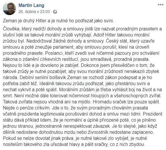 Status předsedy jesenické ODS Martina Langa na Facebooku