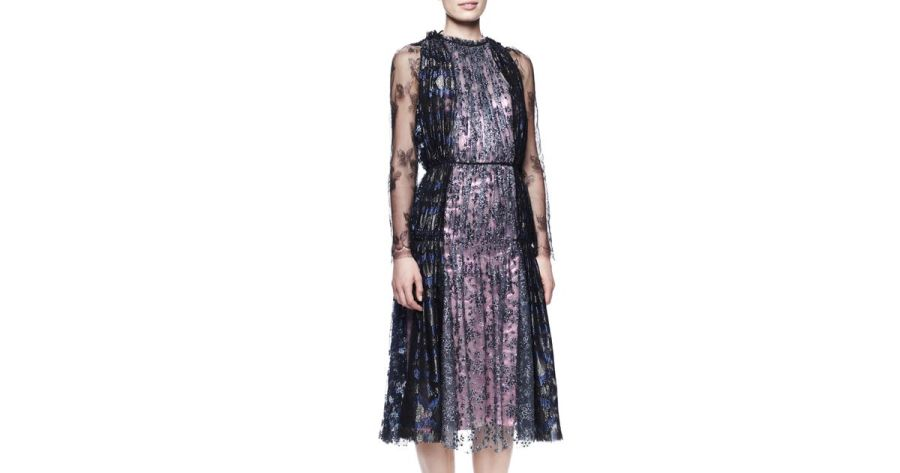 Lyst   Lanvin Metallic Lace Tea Length Dress in Purple
