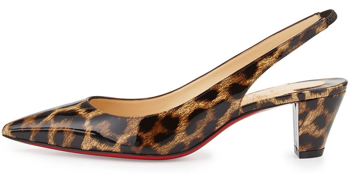 Lyst Christian Louboutin Karelli Leopard Print Low Heel