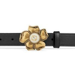 80d27055b64 Lyst Gucci Leather Belt With Metal Flower In Black