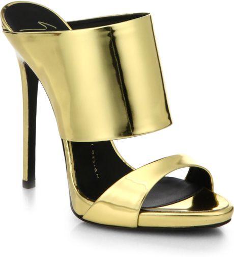 Giuseppe Zanotti Metallic Leather Mule Sandals in Gold