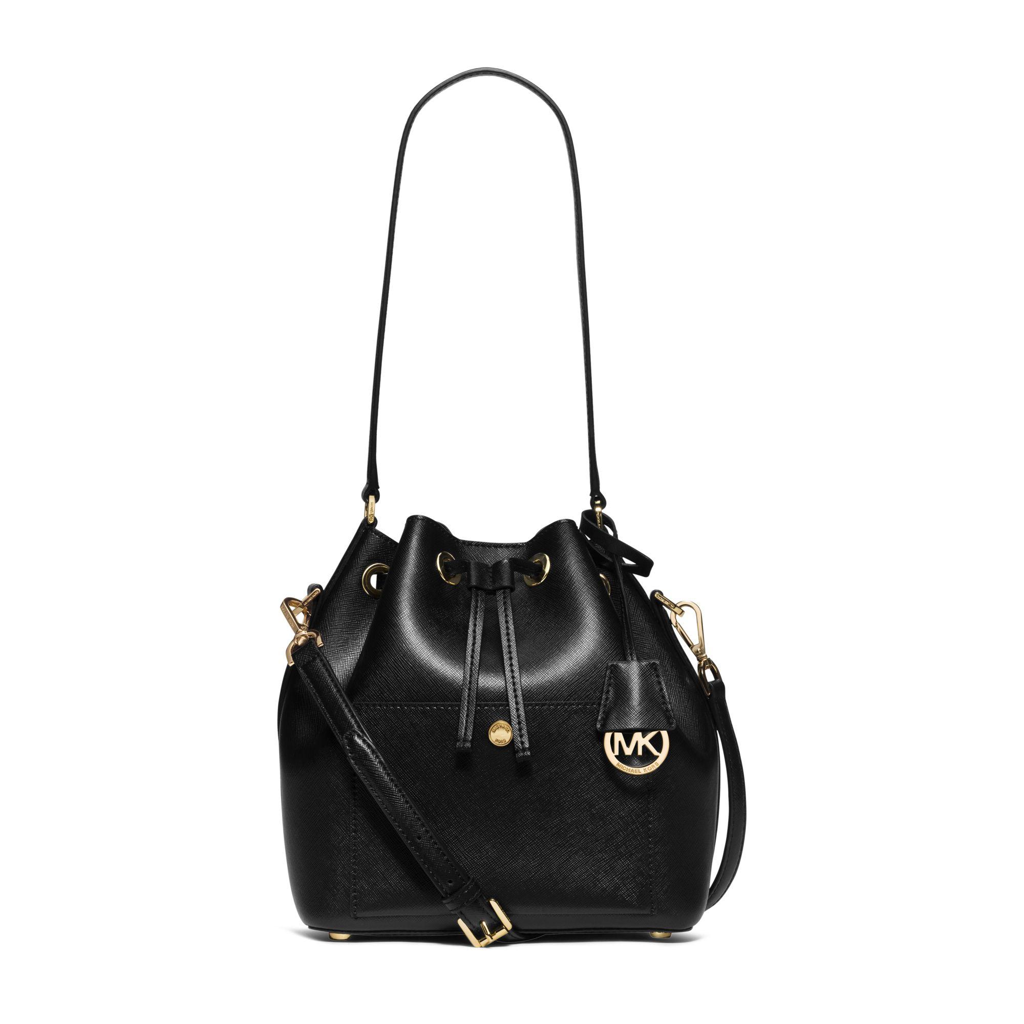 Lyst Michael Kors Greenwich Saffiano Leather Bucket Bag