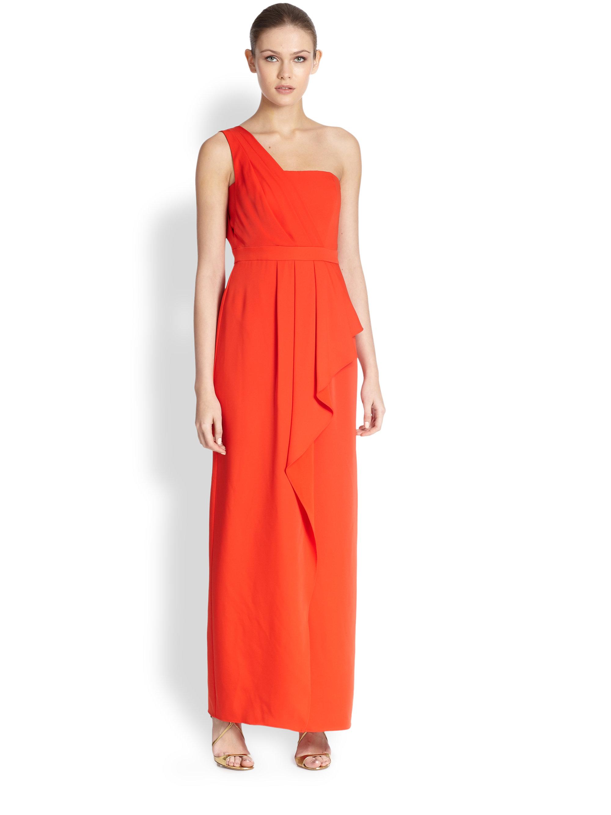 Bcbgmaxazria Kristine One Shoulder Dress In Red