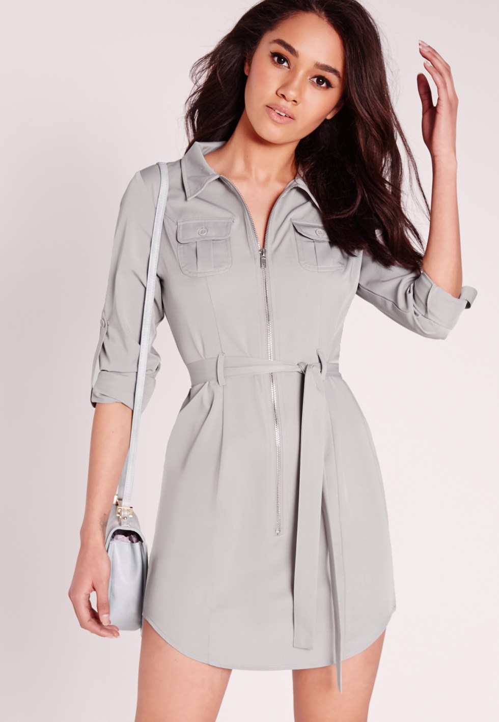 Missguided Petite Exclusive Zip Through Mini Shirt Dress ...