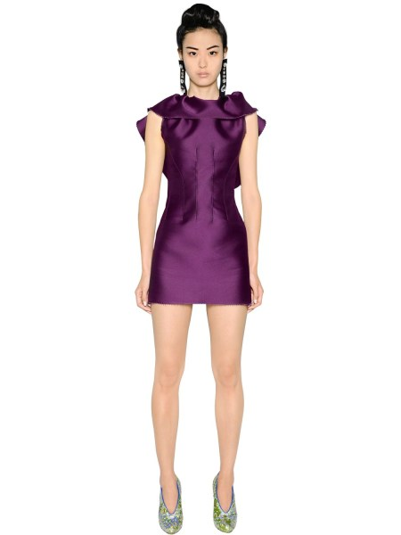 Lyst   Lanvin Ruffled Silk Blend Duchesse   Lace Dress in Purple Gallery