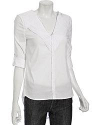BCBGMAXAZRIA White Stretch Cotton Trimmed Yoke Tailed Shirt