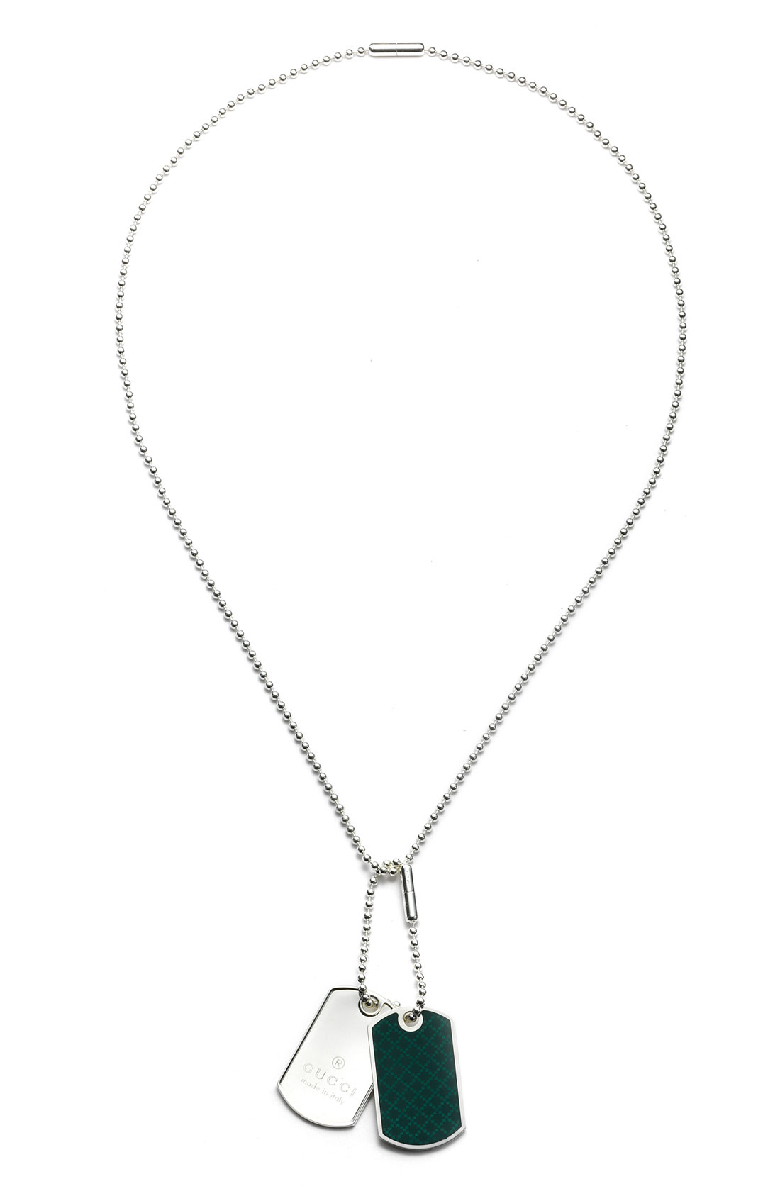 Gucci Dog Tag Necklace With Diamante Pattern Motif In