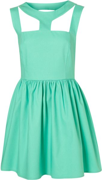 Topshop Cut Out Neck Dress By Rare** in Blue (aqua)