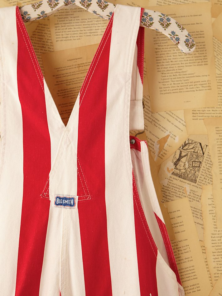 Free People Vintage Red And White Striped Painter Overalls