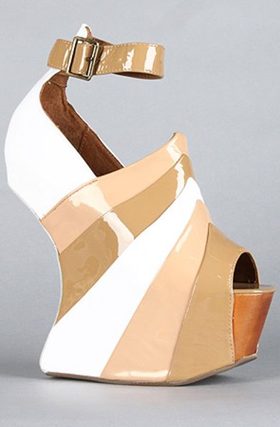 Jeffrey Campbell The Rock Star Shoe in Taupe Nude and White Patent in White (taupe)