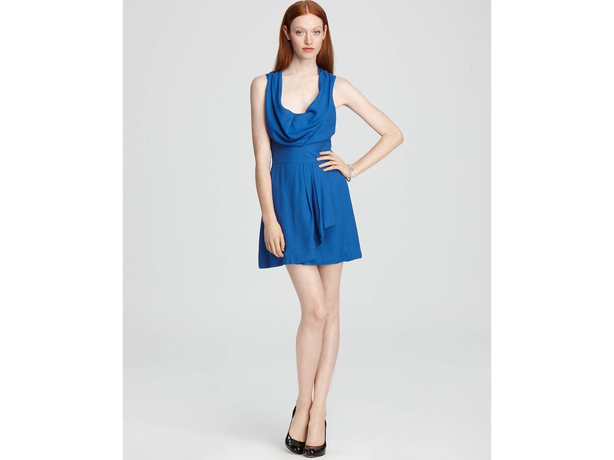 French Connection Dress Ziona Crepe Cowl Neck In Blue