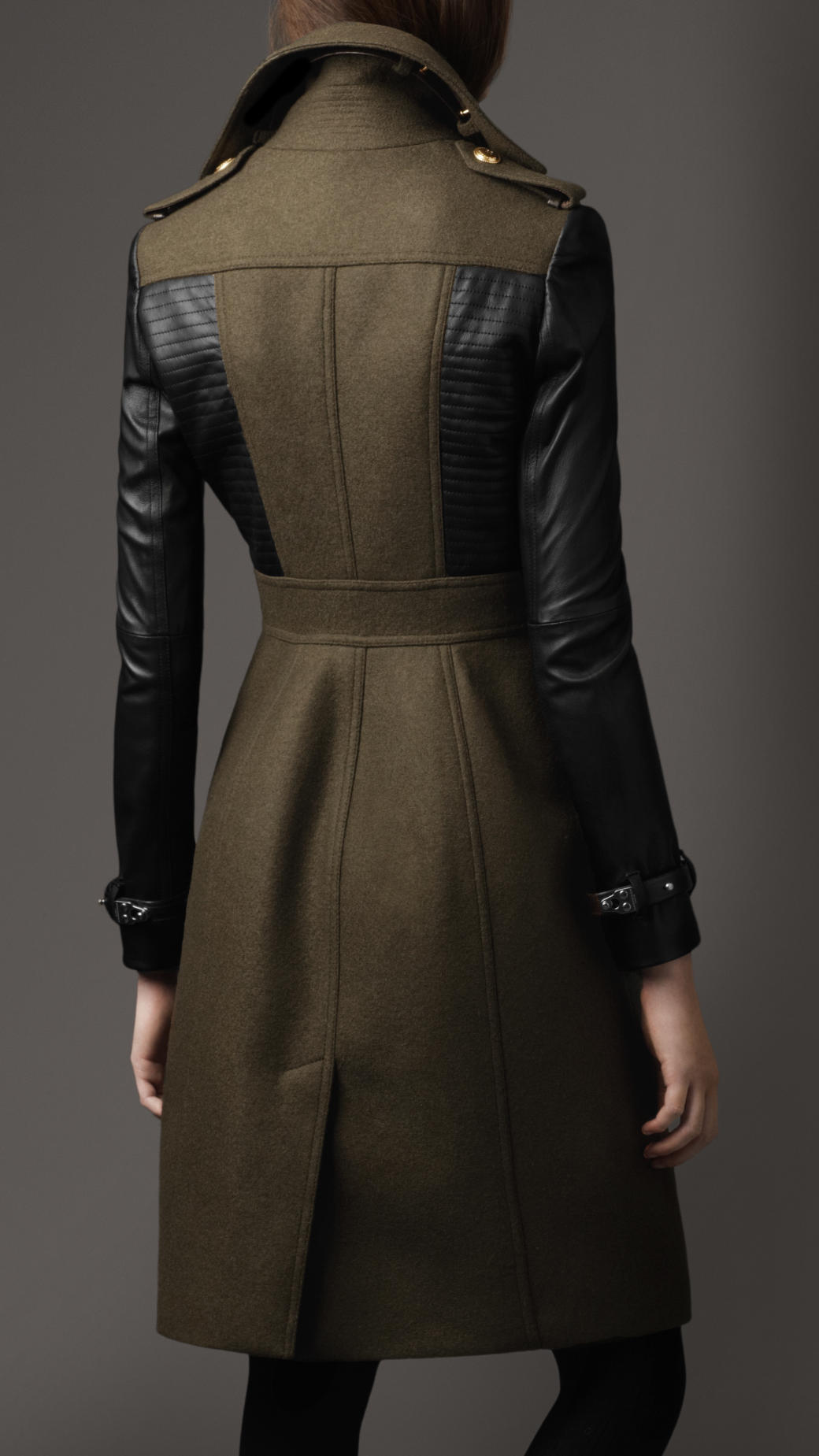 Lyst Burberry Leather Sleeve Coat In Green