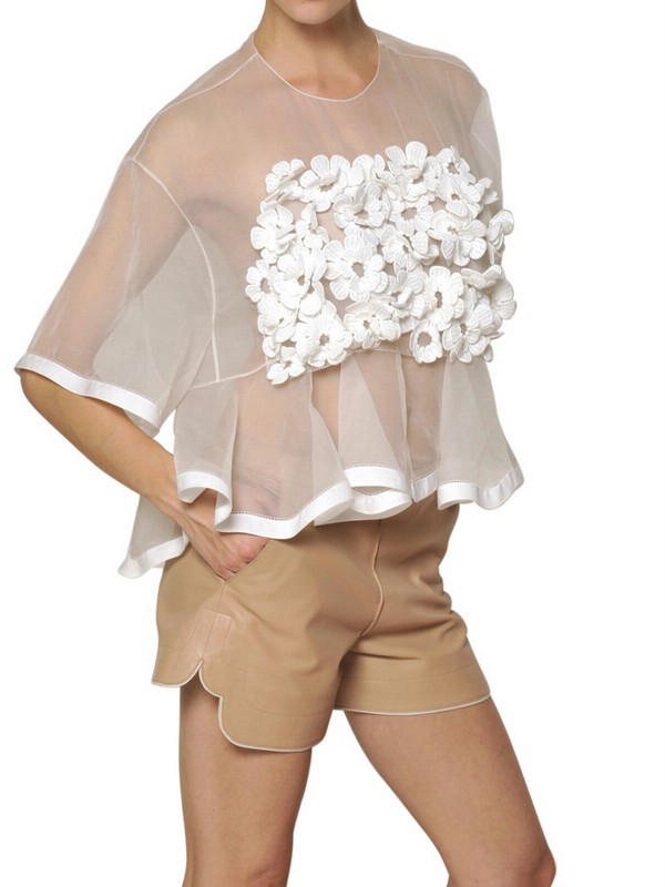 Lyst Chlo Silk Crochet Flower On Silk Organza Top In White