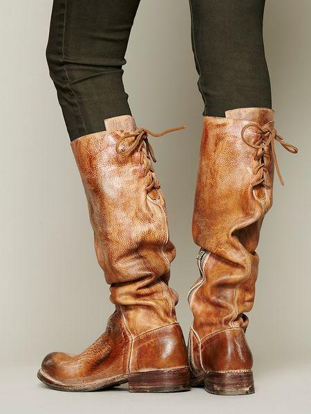 Tall Flat Brown Boots