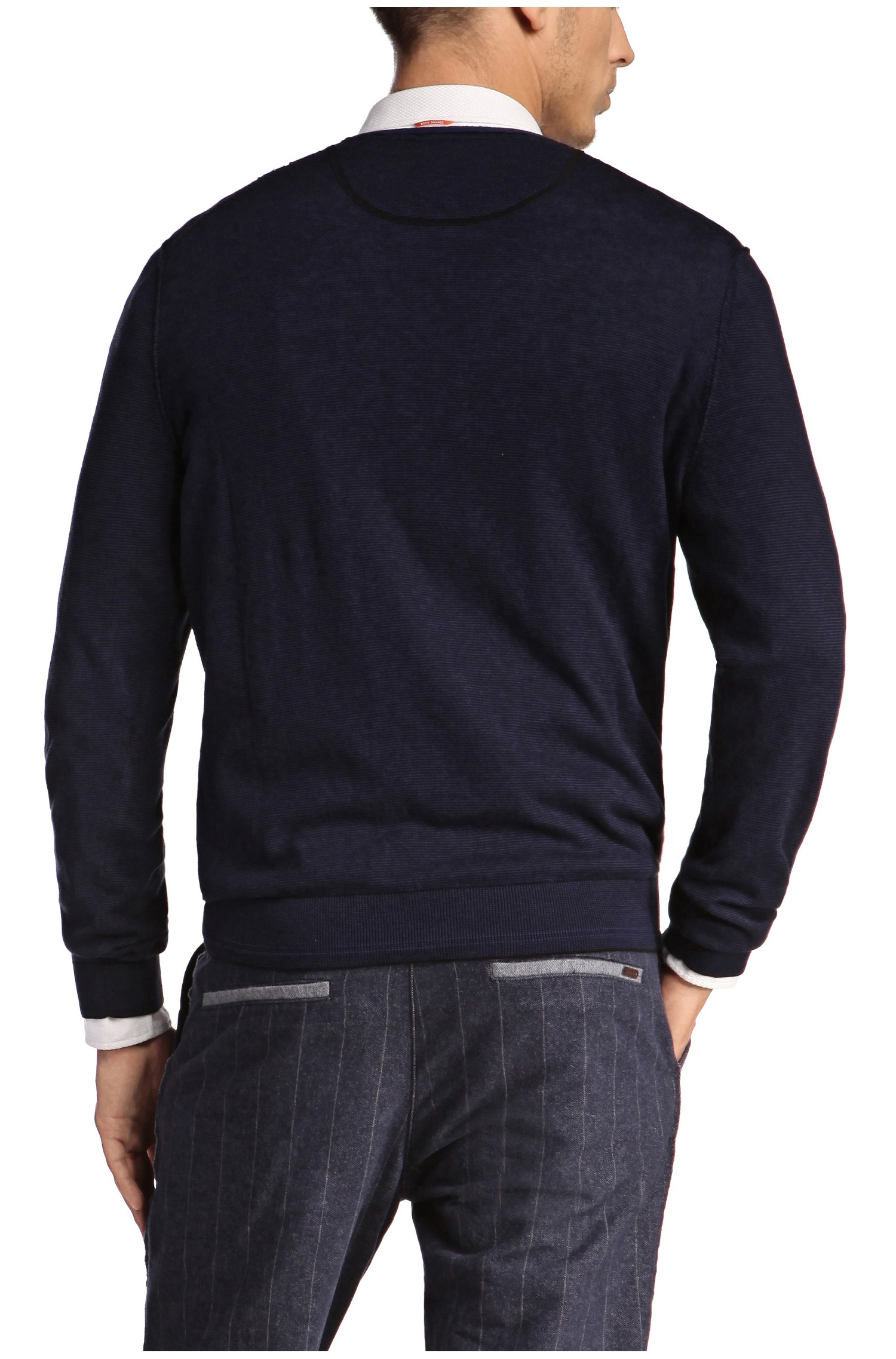 Dark Blue V Neck Merino Wool Sweater
