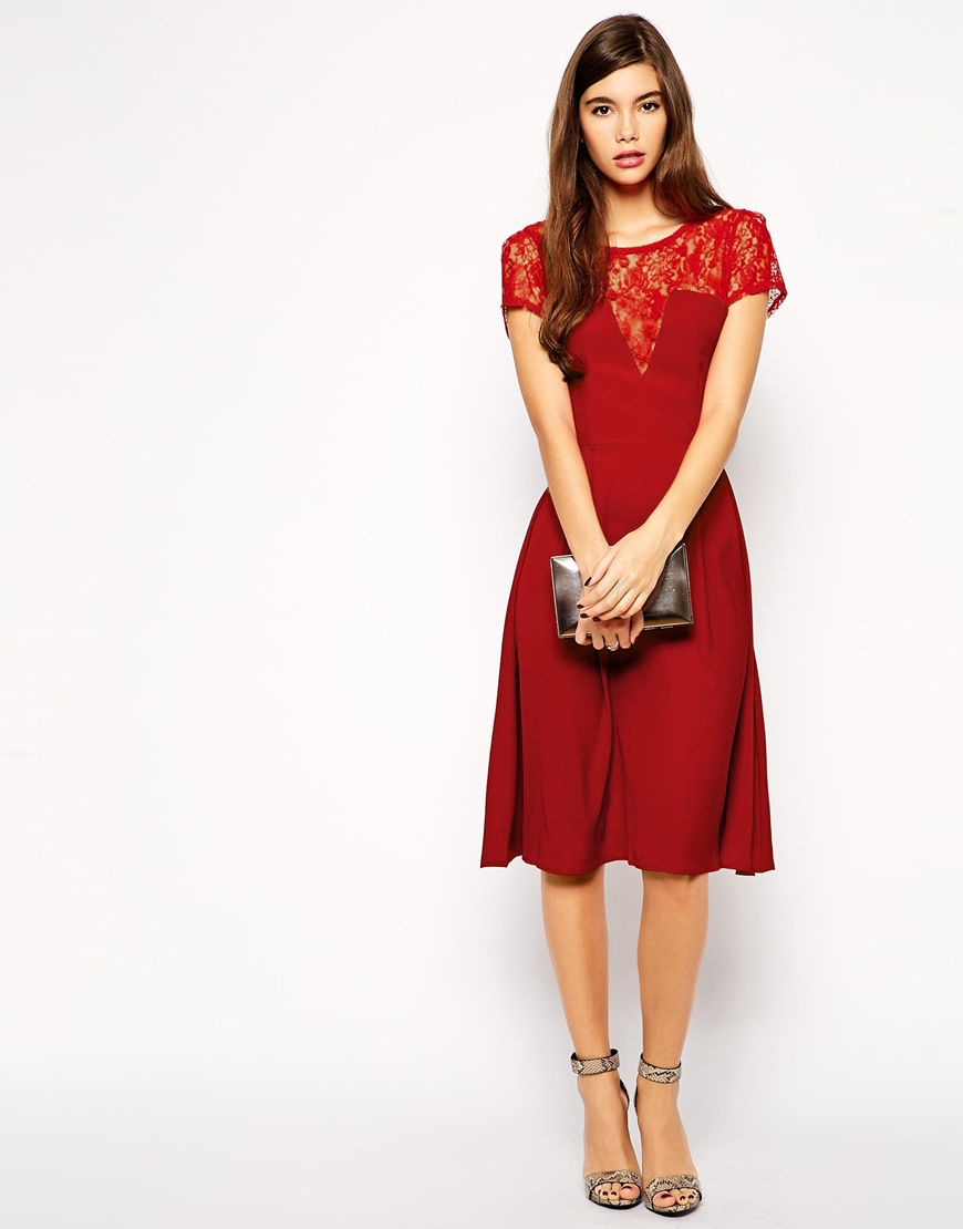Love Skater Midi Dress With Lace Detail And Box Pleat