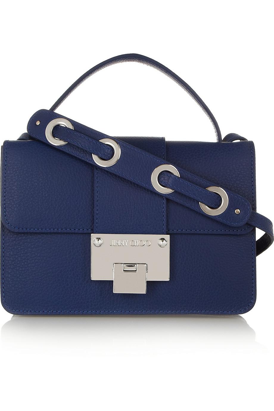 Lyst Jimmy Choo Rebel Textured Leather Shoulder Bag In Blue