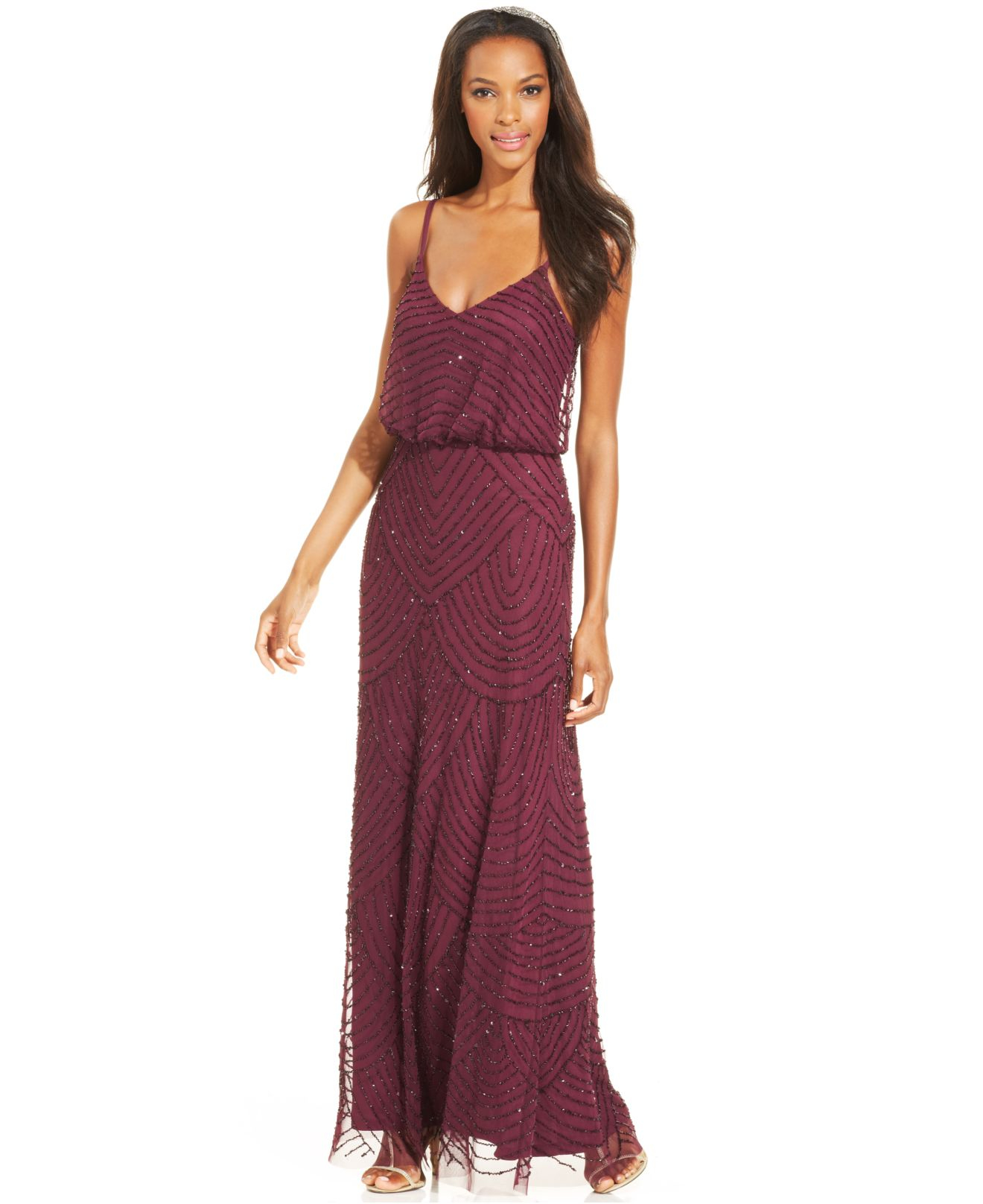 Adrianna Papell Beaded Blouson Gown Cassis