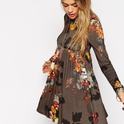118cba7546 Lyst Asos Babydoll Dress With Long Sleeves In Floral Print In Brown