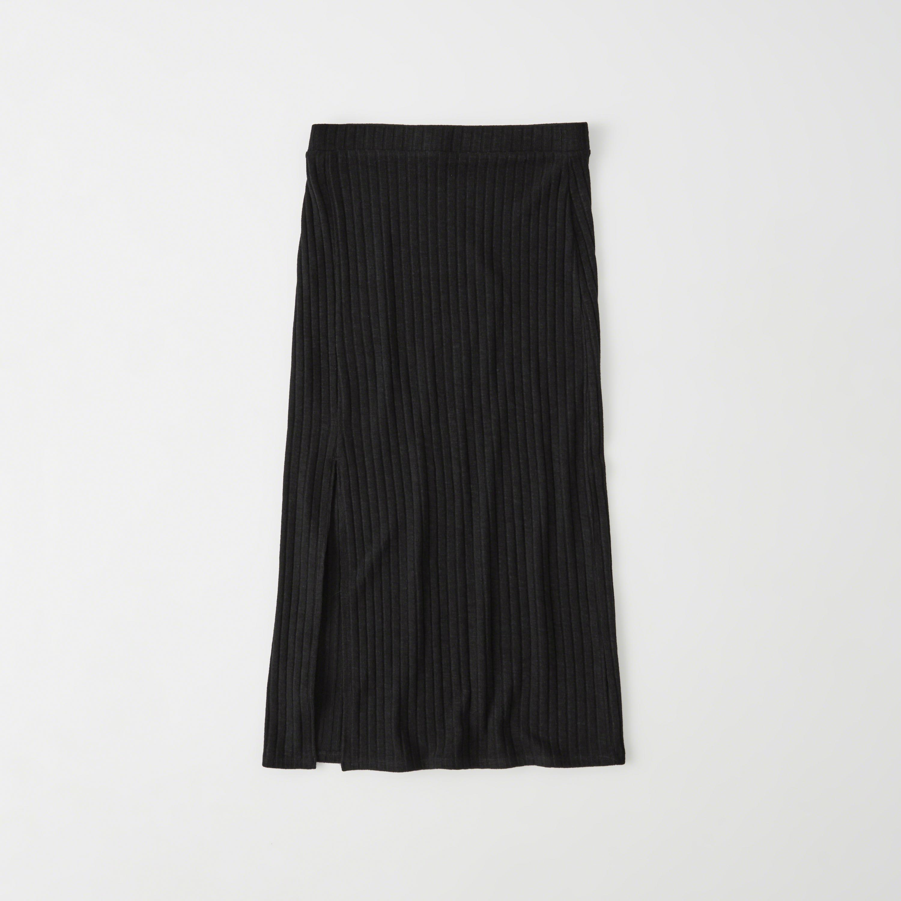 Abercrombie Amp Fitch Knit Midi Skirt In Black Lyst