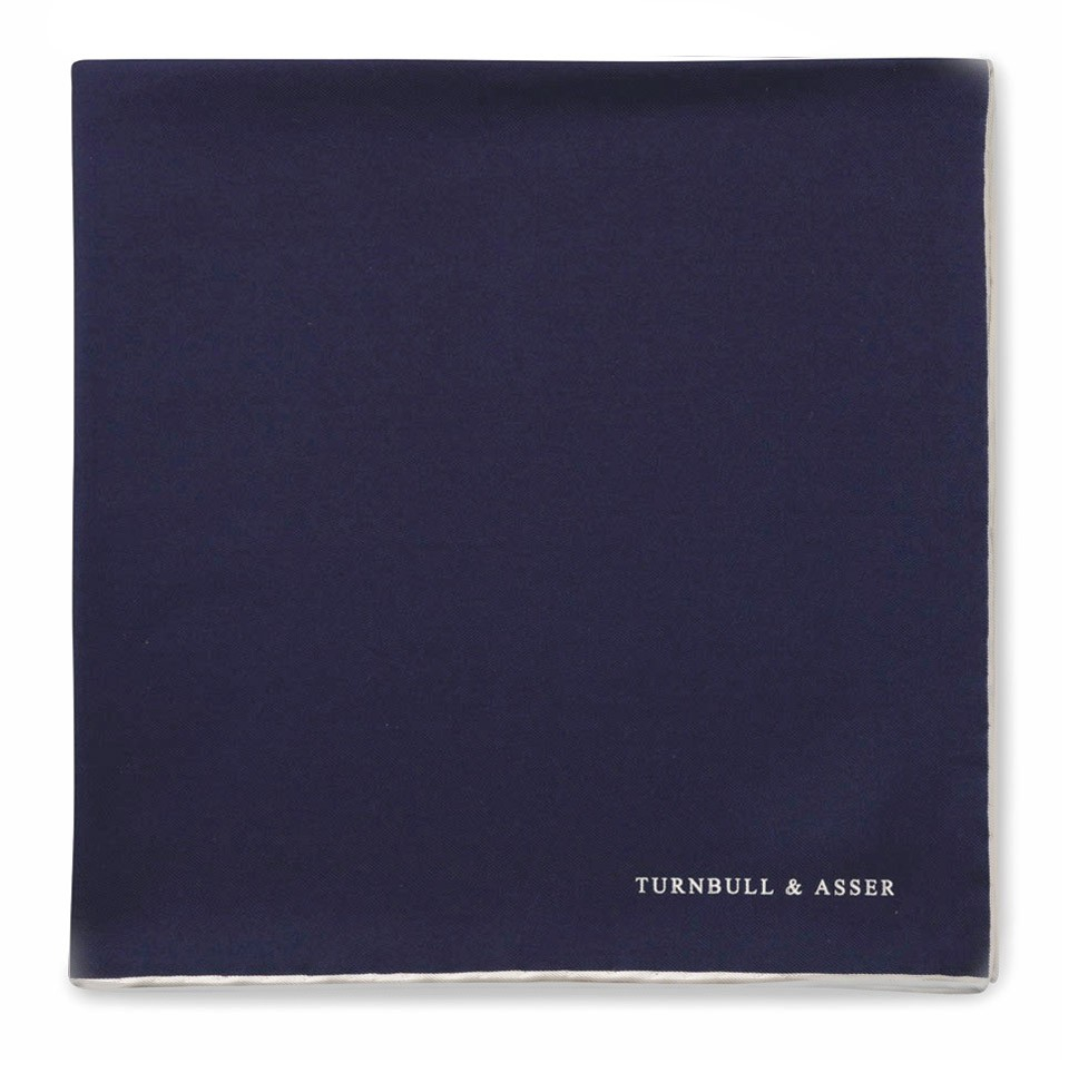 Lyst Turnbull Amp Asser Plain Navy Silk Pocket Square With