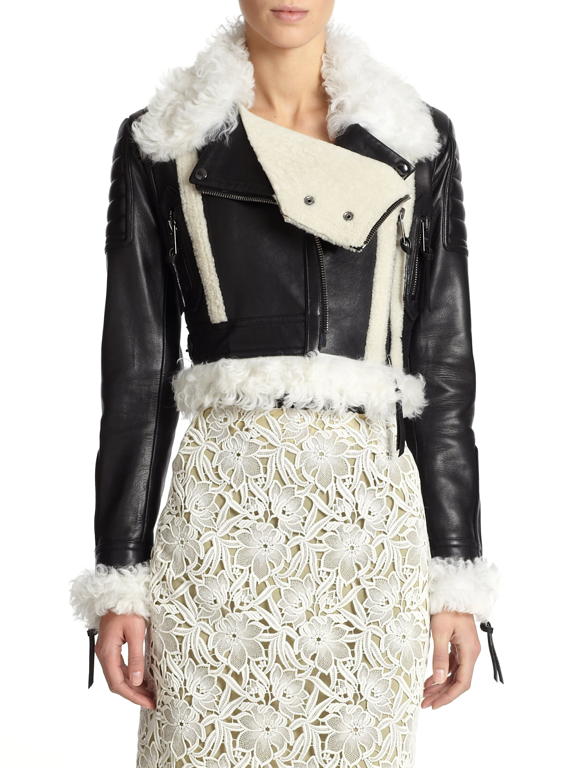Lyst Burberry Prorsum Shearling Trimmed Cropped Leather