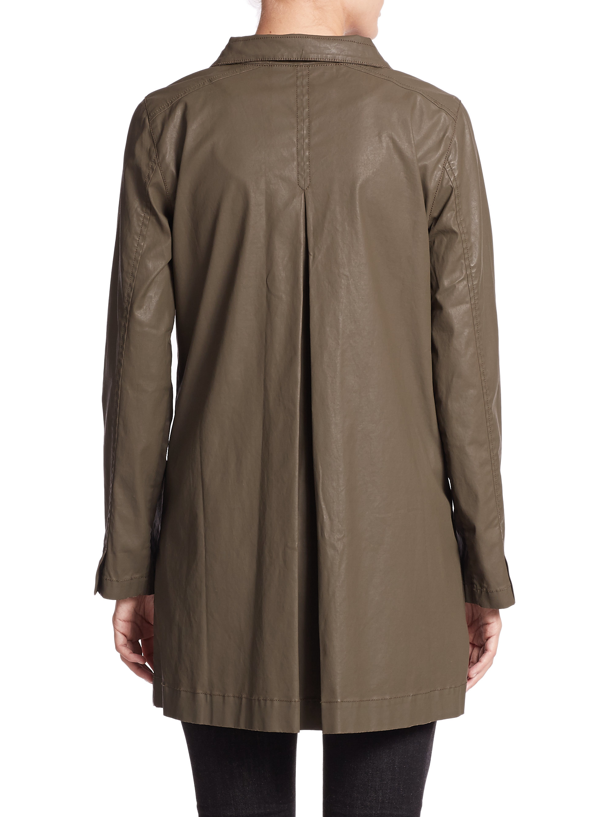 Eileen Fisher Wax Coated Twill Jacket In Brown Lyst