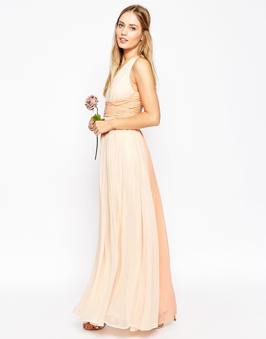Asos Wedding Hollywood Contrast Maxi Dress In Pink Lyst