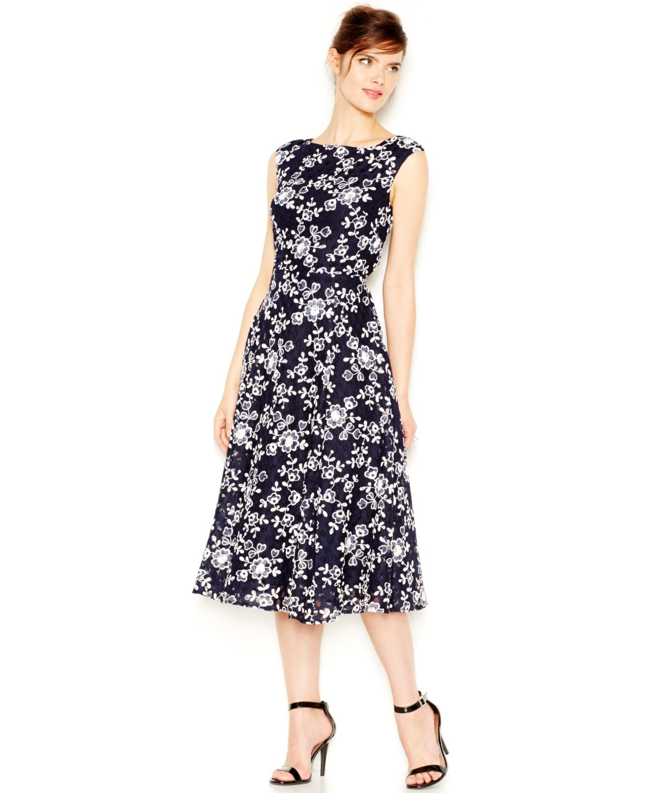 Betsey Johnson Lace Embroided Midi Dress In Blue Lyst