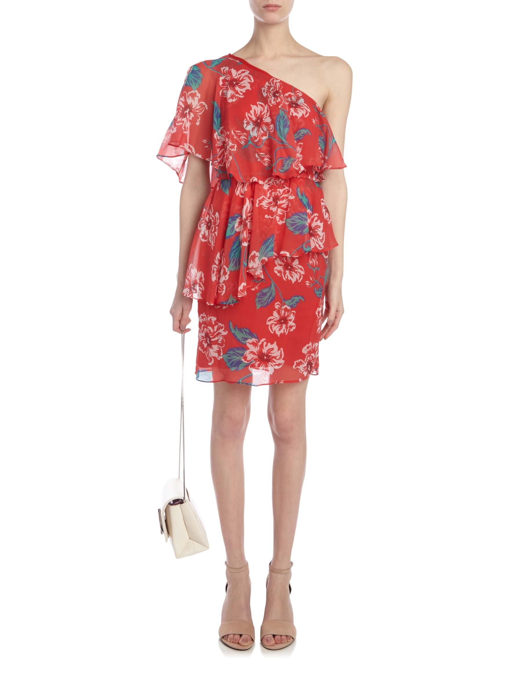 Nicholas Floral One Shoulder Dress In Red