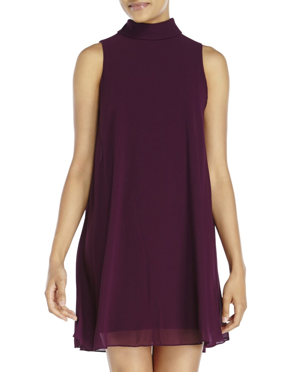 Resultado de imagen de vince camuto plus size purple shift dress sleeveless with mock neck