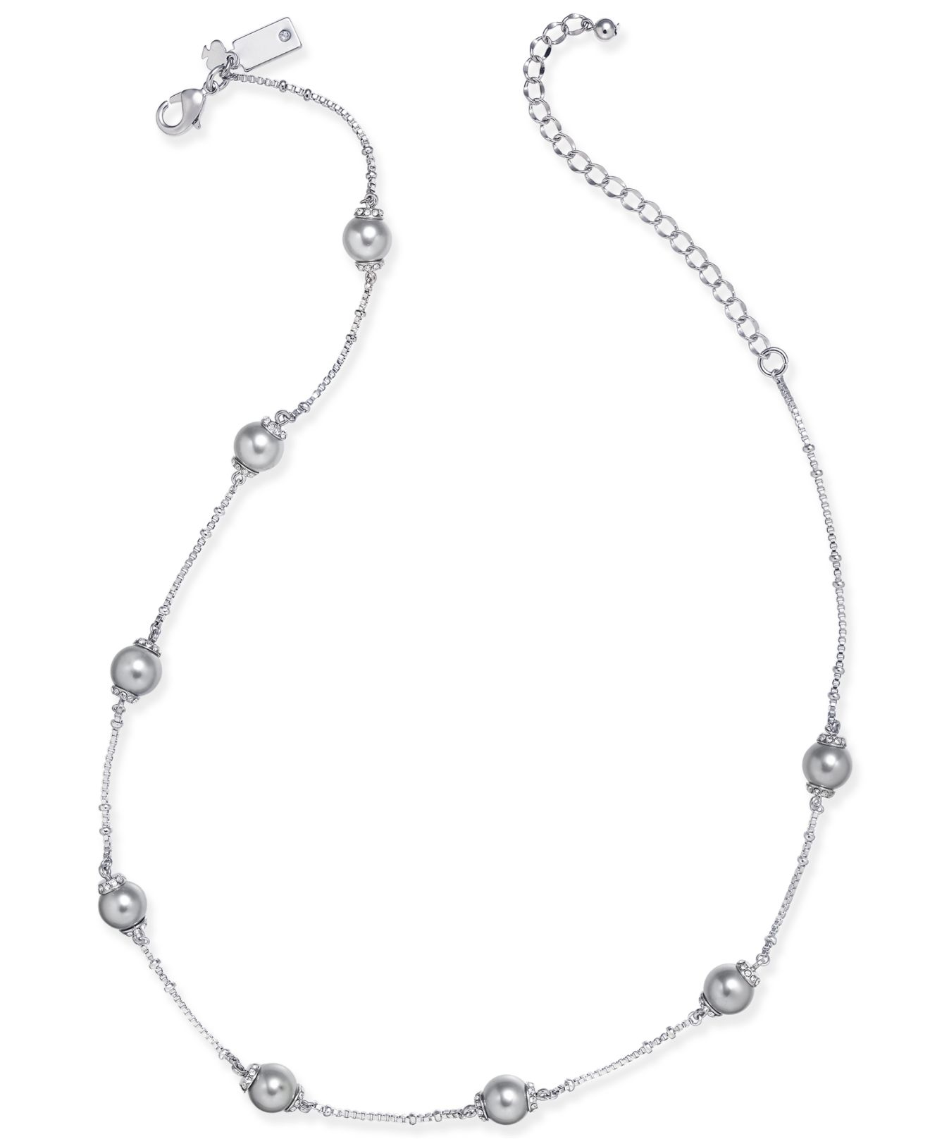 Kate Spade New York Silver Tone Imitation Pearl And Pave Scatter Collar Necklace In Grey